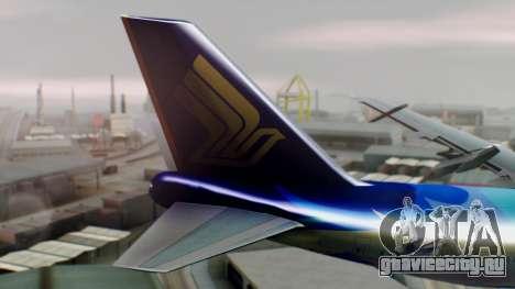 Boeing 747-400 Singapore Airlines Tropical PJ для GTA San Andreas вид сзади слева