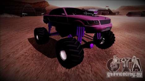 GTA 4 Washington Monster Truck для GTA San Andreas вид сзади слева