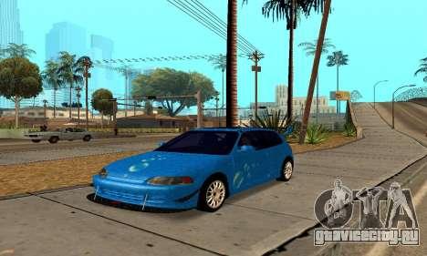 Honda Civic EG6 Tunable для GTA San Andreas вид сзади