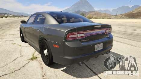 2012 Unmarked Dodge Charger для GTA 5 вид сзади слева