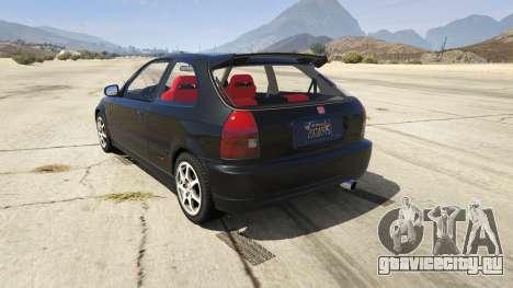 Honda Civic Type-R EK9 для GTA 5 вид сзади слева