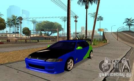 Honda Civic EG6 Tunable для GTA San Andreas вид сзади слева