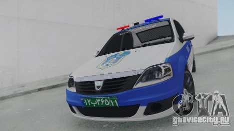 Dacia Logan Iranian Police для GTA San Andreas вид справа