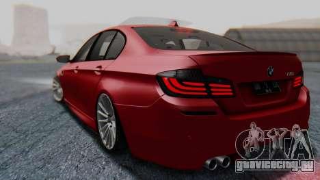 BMW M5 2012 Stance Edition для GTA San Andreas вид сзади слева