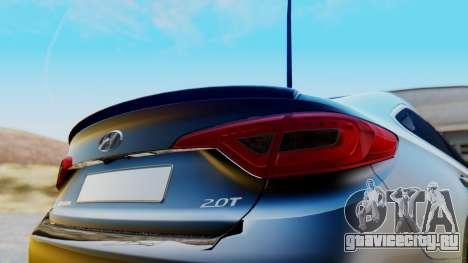 Hyundai Sonata Turbo 2015 для GTA San Andreas вид сзади