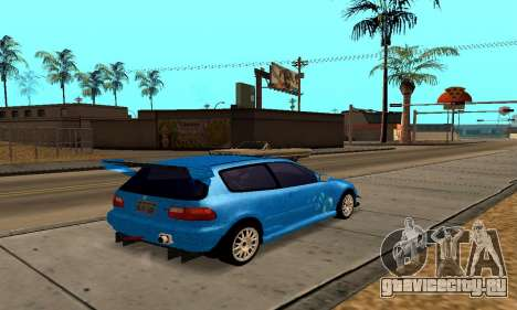 Honda Civic EG6 Tunable для GTA San Andreas вид изнутри