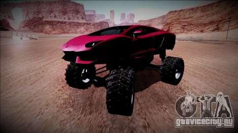Lamborghini Aventador Monster Truck для GTA San Andreas вид изнутри