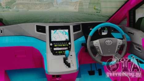 Toyota Vellfire Miku Pocky Exhaust для GTA San Andreas вид сзади
