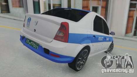 Dacia Logan Iranian Police для GTA San Andreas вид сзади слева