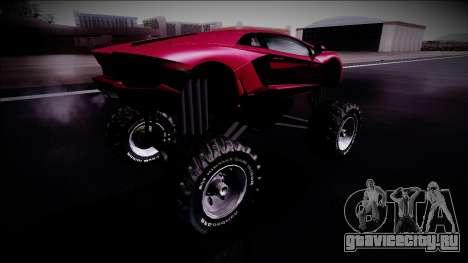 Lamborghini Aventador Monster Truck для GTA San Andreas вид сзади слева