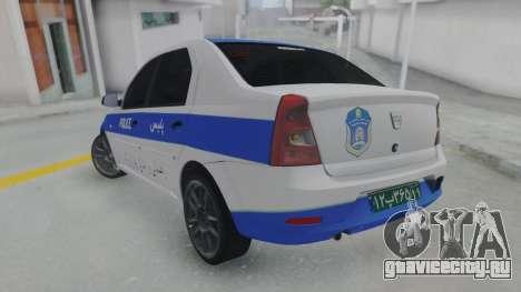 Dacia Logan Iranian Police для GTA San Andreas вид слева