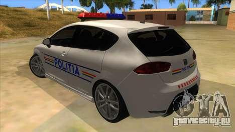 Seat Leon Cupra Romania Police для GTA San Andreas вид сзади слева
