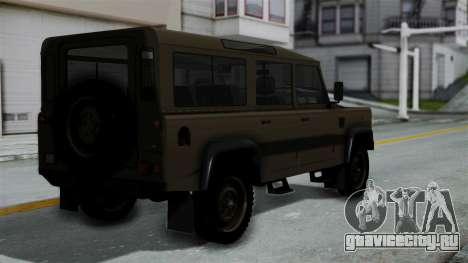 Land Rover Defender Vojno Vozilo для GTA San Andreas вид слева