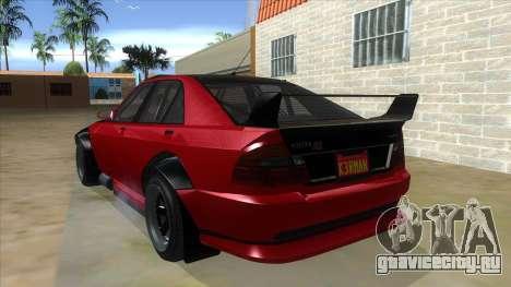 GTA V Karin Sultan RS 4 Door для GTA San Andreas вид сзади слева
