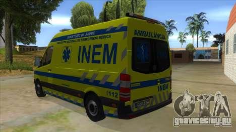 Mercedes-Benz Sprinter INEM Ambulance для GTA San Andreas вид сзади слева