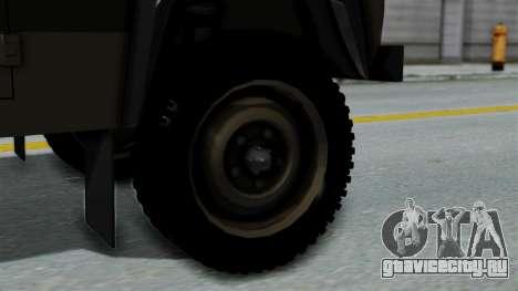 Land Rover Defender Vojno Vozilo для GTA San Andreas вид сзади слева