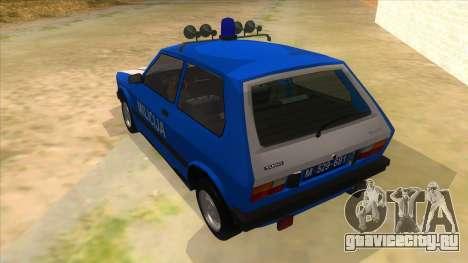 Yugo Koral Police для GTA San Andreas вид сзади слева