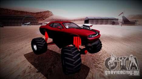 2009 Dodge Challenger SRT8 Monster Truck для GTA San Andreas вид изнутри