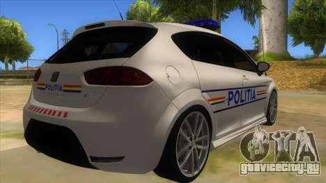 Seat Leon Cupra Romania Police для GTA San Andreas вид справа