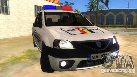 Dacia Logan Romania Police для GTA San Andreas вид сзади