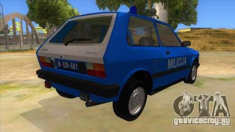 Yugo Koral Police для GTA San Andreas вид справа