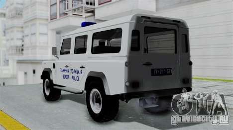 Land Rover Defender Serbian Border Police для GTA San Andreas вид слева
