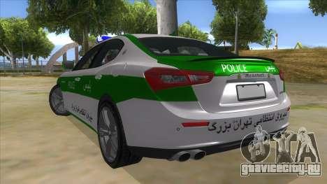 Maserati Iranian Police для GTA San Andreas вид сзади слева