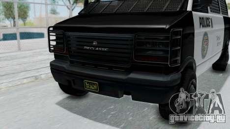 GTA 5 Declasse Burrito Police Transport IVF для GTA San Andreas вид сзади