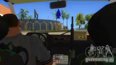 Yugo GV Police для GTA San Andreas вид изнутри