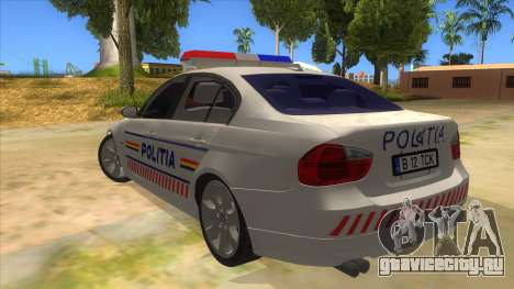 BMW 330XD Romania Police для GTA San Andreas вид сзади слева