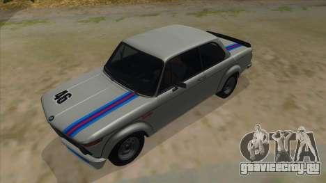 1974 BMW 2002 turbo v1.1 для GTA San Andreas вид сверху