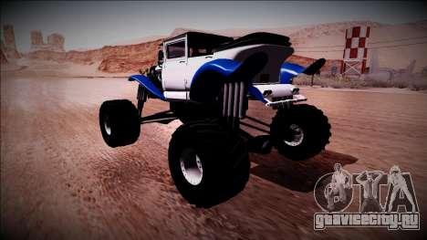 GTA 5 Albany Franken Stange Monster Truck для GTA San Andreas вид сзади слева