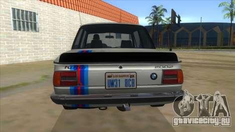 1974 BMW 2002 turbo v1.1 для GTA San Andreas вид снизу