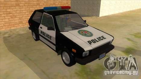 Yugo GV Police для GTA San Andreas вид сзади
