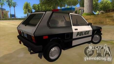 Yugo GV Police для GTA San Andreas вид справа