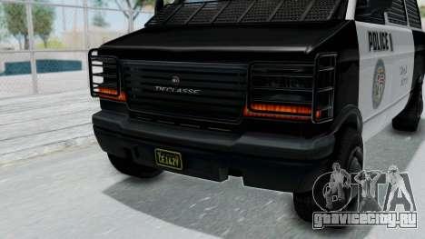 GTA 5 Declasse Burrito Police Transport IVF для GTA San Andreas вид изнутри