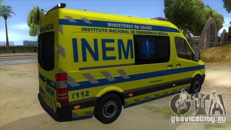 Mercedes-Benz Sprinter INEM Ambulance для GTA San Andreas вид справа