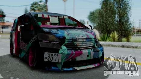 Toyota Vellfire Miku Pocky Exhaust v2 для GTA San Andreas