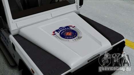 Land Rover Defender Serbian Border Police для GTA San Andreas вид сзади