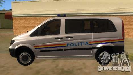 Mercedes Benz Vito Romania Police для GTA San Andreas вид слева
