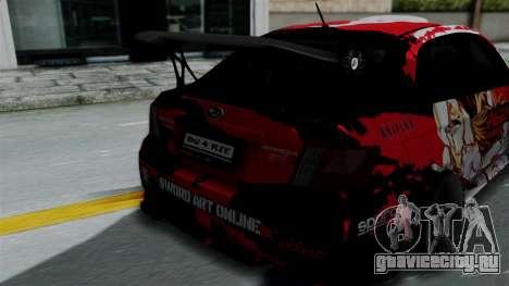 Subaru Impreza WRX STI 2010 Itasha Asuna (SAO) для GTA San Andreas вид сзади