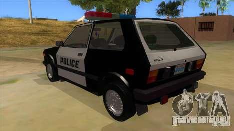 Yugo GV Police для GTA San Andreas вид сзади слева