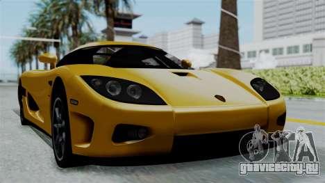 Koenigsegg CCXR 2013 для GTA San Andreas вид сзади слева
