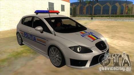 Seat Leon Cupra Romania Police для GTA San Andreas вид сзади