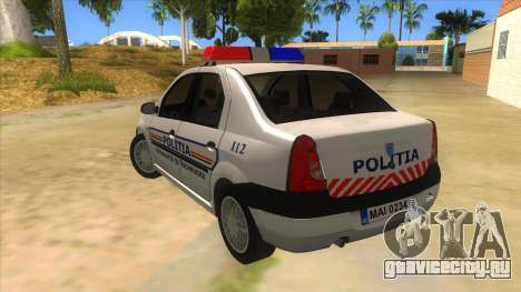 Dacia Logan Romania Police для GTA San Andreas вид сзади слева