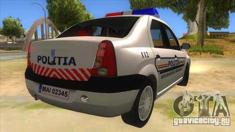 Dacia Logan Romania Police для GTA San Andreas вид справа
