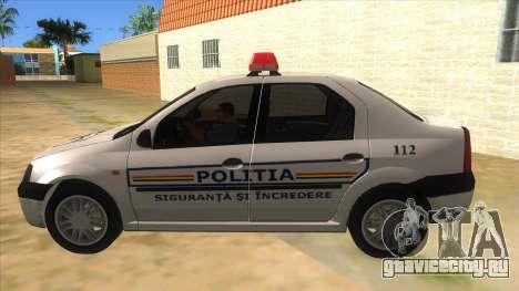 Dacia Logan Romania Police для GTA San Andreas вид слева