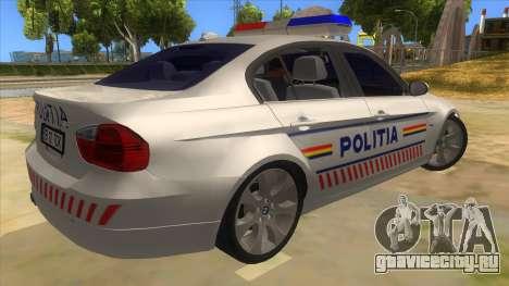 BMW 330XD Romania Police для GTA San Andreas вид справа