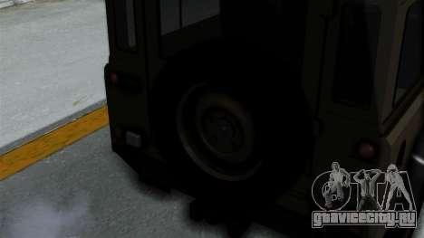 Land Rover Defender Vojno Vozilo для GTA San Andreas вид сзади