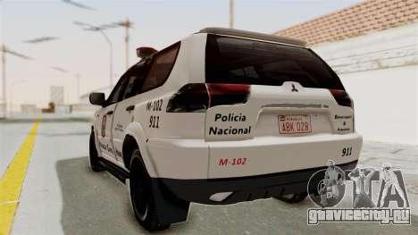 Mitsubishi Pajero Policia Nacional Paraguaya для GTA San Andreas вид слева